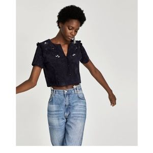 Zara large faux suede navy crop top with gems.